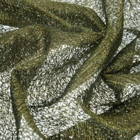 Donne - Green (6) - Fabric made from loosely woven polyester and rayon, which almost resembles a dark forest green coloured net