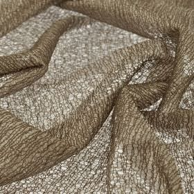 Donne - Beige (3) - Loosely woven, dark brown-grey coloured polyester and rayon blend fabric