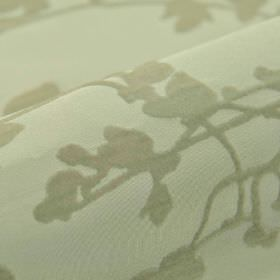 Milton - Light Grey (4) - Polyester and rayon blend fabric in a very pale shade of grey behind a design of flower and stem silhouettes in mi