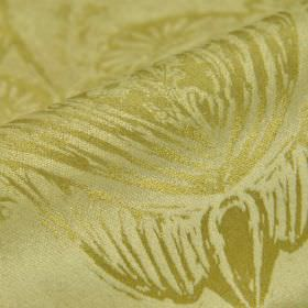 Byron - Cream (2) - Slightly shiny grass green coloured lines making up floral designs on green cotton, polyester and viscose blend fabric