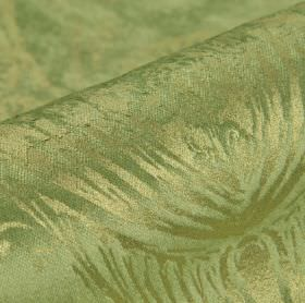 Byron - Green - Cotton, polyester and viscose blend fabric in grass green, patterned with simple lines making up a detailed floral pattern