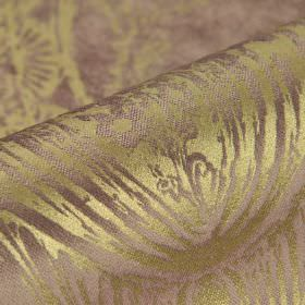Byron - Pink (5) - Dusky purple cotton, polyester and viscose blend fabric behind a detailed floral design in green-gold, with a slight sheen
