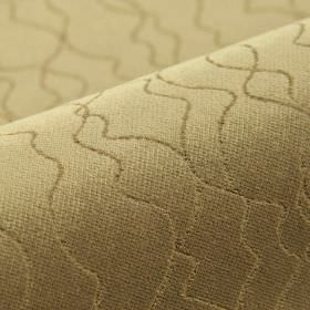 Scott - Beige (6) - Uneven, irregular wavy lines running across dark gold coloured 100% polyester fabric