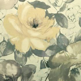 Bridges - Beige Brown (1) - Roses and leaves shaded in various light grey and pale yellow colours on a cream coloured 100% cotton fabric bac