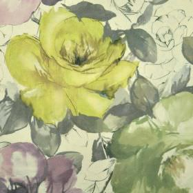 Bridges - Gold Purple Green (2) - Cream coloured 100% cotton fabric behind a realistic shaded floral rose design in citrus, dusky green, pur