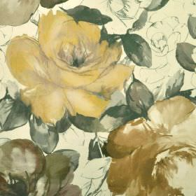 Bridges - Gold Brown (4) - Fabric made from rose patterned 100% cotton, with a design in grey, brown and honey shades on a cream background
