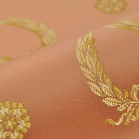Royal Victoria - Pink (25) - Dusky terracotta, cream and gold coloured cotton and rayon blend fabric, embroidered repeatedly with garlands and