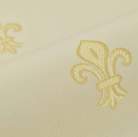 Royal Astoria - Cream (2) - Beige cotton and rayon fabric as a plain background to a simple embroidered fleur de lis pattern in gold and cre