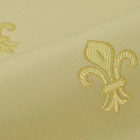 Royal Astoria - Beige (3) - Cotton and rayon blend fabric featuring a simple, repeated fleur de lis pattern in three different shades of gol