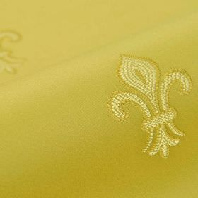 Royal Astoria - Gold (4) - Fleur de lis patterned cotton and rayon blend fabric, with a simple gold and light cream design on a citrus backg