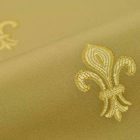 Royal Astoria - Gold Beige - Dark olive green fabric made from cotton and rayon, embroidered with a simple fleur de lis design in gold and c