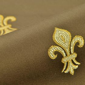 Royal Astoria - Brown (6) - A simple, repeated cream and gold fleur de lis pattern on a dark chocolate brown cotton and rayon blend fabric bac