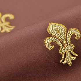 Royal Astoria - Pink (7) - Rich brown fabric made from cotton and rayon, embroidered repeatedly with a simple gold and cream fleur de lis de