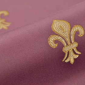 Royal Astoria - Purple (8) - Dusky purple, gold and beige coloured cotton & rayon blend fabric with a repeated embroidered design of the fle