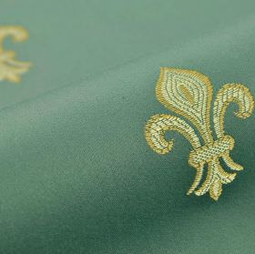 Royal Astoria - Blue Green (11) - Elegant fleur de lis patterned cotton and rayon blend fabric with a design in emerald, olive and creamy sh