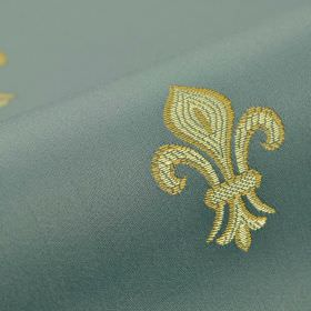 Royal Astoria - Blue - Grass green and cream-green coloured fleur de lis shapes embroidered on light blue-grey cotton and rayon blend fabric