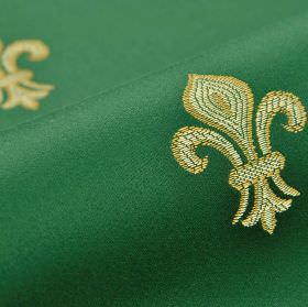 Royal Astoria - Green (14) - Emerald green coloured fabric made from fleur de lis patterned cotton and rayon, with a design in creamier shades