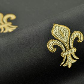 Royal Astoria - Black - Smart gold and cream coloured fleur de lis shapes embroidered on a black cotton and rayon blend fabric background