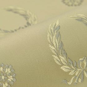 Royal Victoria - Beige (20) - Garlands and flowers embroidered in light cream and grey shades on a beige cotton and rayon blend fabric backg