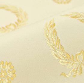 Royal Victoria - Cream (21) - Cream coloured cotton and rayon blend fabric behind an embroidered design of garlands and flowers in yellow-go