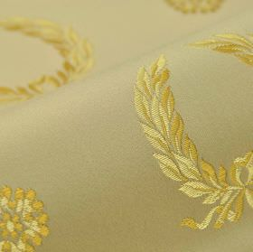 Royal Victoria - Beige Gold (22) - Yellow-gold shades making up an embroidered garland and flower pattern on cotton and rayon blend fabric i