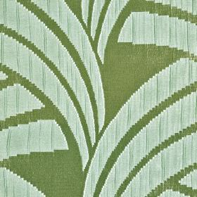 Sensu CS - Brown Blue (5) - Grass and light mint shades of green making up a 100% Trevira CS fabric with a design of blocks of colour and curv