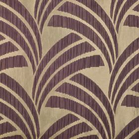 Sensu CS - Purple (3) - Trios of aubergine coloured, fan-shaped curved lines arranged repeatedly over a beige 100% Trevira CS fabric backgro
