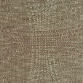 Madaka CS - Brown Beige (6) - Fabric made from 100% Trevira CS in cream, beige and brown, with an overlapping pattern of squares with curved