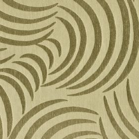 Makio CS - Beige Brown (1) - Sweeping curved lines printed in a dark green-grey colour on a creamy yellow 100% Trevira CS fabric background