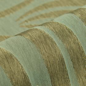 Makio CS - Brown Blue (15) - A large design of sweeping curved lines arranged in green-grey and light blue-grey over fabric made from 100% T