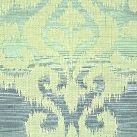 Sabalan - Blue - Light green swirling designs with rough edges on cotton, polyester and viscose fabric shaded in denim and mint colours