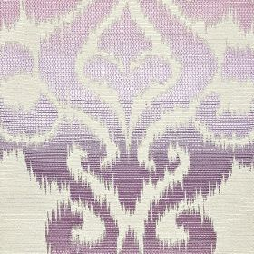 Sabalan - Beige Purple - Off-white cotton, polyester and viscose blend fabric with large swirling designs shaded in various pink and purple co