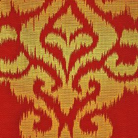 Sabalan - Red Gold (4) - Fabric made from tomato red coloured cotton, polyester and viscose with golden yellow swirling patterns with rough