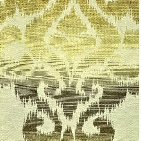 Sabalan - Cream Gold - Various different dark and pale shades of green making up a large swirling pattern with rough edges on a blended fabr