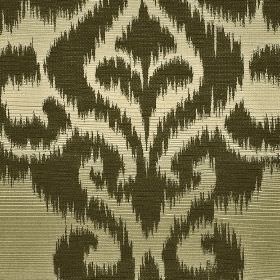 Sabalan - Brown Gold - Very dark green swirling patterns with rough edges printed on a blended fabric shaded in light green-cream colours
