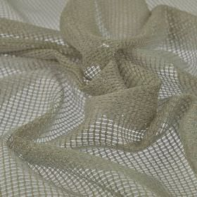 Toba - Beige (2) - Light grey coloured 100% polyester fabric made with a neat, net-like woven finish