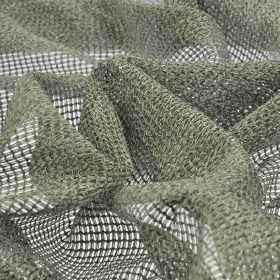 Toba - Grey (4) - Dusky green-grey coloured threads woven neatly into a net-style 100% polyester fabric