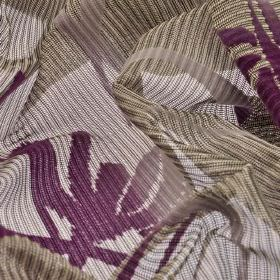 Wilis - Purple (4) - Grey and cream striped 100% polyester fabric woven with a large, simple floral silhouette design in violet