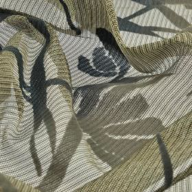 Wilis - Beige (5) - Several shades of grey in a stripe and large, simple floral silhouette design on loosely woven 100% polyester fabric