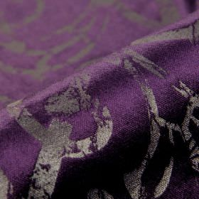 Vostok - Purple (5) - Fabric made from Royal purple and dark silver coloured cotton, polyester and viscose, with patchily printed curved lin