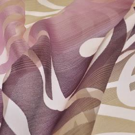 Tica - Purple Pink (3) - Polyester and rayon blend fabric made with a swirling curved line pattern and a translucent white, beige & purple f