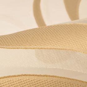 Skimo 315cm - White Beige (4) - Warm caramel coloured curved lines with a slight texture on translucent cream coloured polyester & viscose b