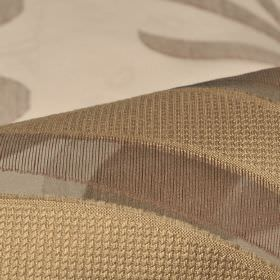 Skimo 315cm - Brown (5) - Patterned and slightly textured polyester blend fabric covered with curved lines and stripes in shades of brown and