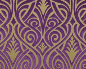 Inuk - Purple - Vivid purple swirling, curving lines weaving over light brown-beige coloured polyester and viscose blend fabric