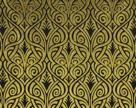 Inuk - Gold Brown - Black polyester and viscose blend fabric behind a swirling, curving, woven line design in apple green