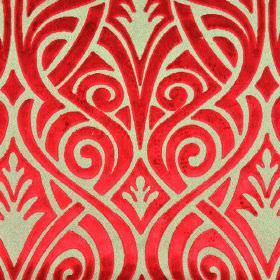 Inuk - Red Brown - Bright red curving lines arranged in an overlapping design on a light grey polyester and viscose blend fabric background