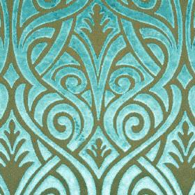 Inuk - Blue Brown - Aqua blue and grey-green coloured polyester and viscose blend fabric, patterned with swirling, curved, overlapping lines