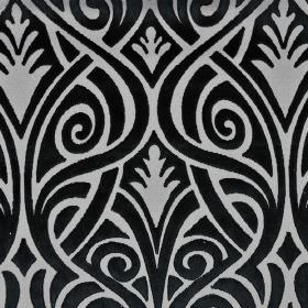 Inuk - Black Grey (9) - Polyester and viscose blend fabric featuring a pattern of swirling, overlapping curved lines in jet black and iron g