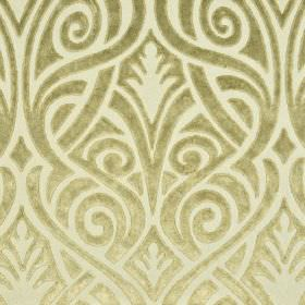 Inuk - Brown Beige - Pale gold and cream coloured polyester and viscose blend fabric, patterned with swirling, curved, overlapping lines