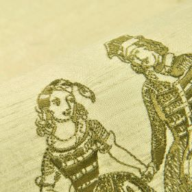 Villemin - Cream (1) - Olive green coloured drawings of historical people printed on a light yellow-green 100% silk fabric background